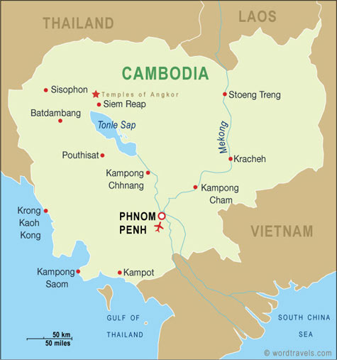 Cambodia map.