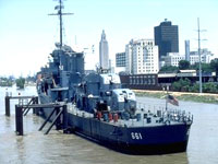 USS Kidd moored on the Mississippi © Louisiana Office of Tourism