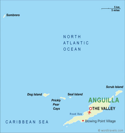 Anguilla Map Anguilla Travel Maps from Word Travels