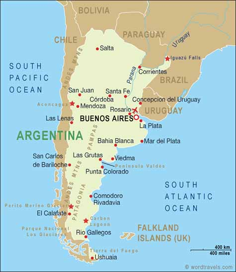 Argentina Map Argentina Travel Maps From Word Travels - Argentina map cities