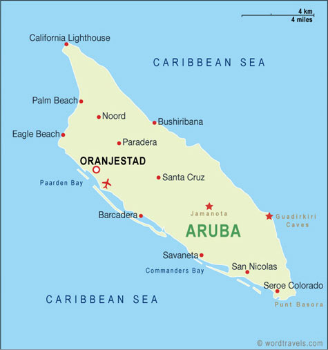 Aruba Map Aruba Travel Maps from Word Travels