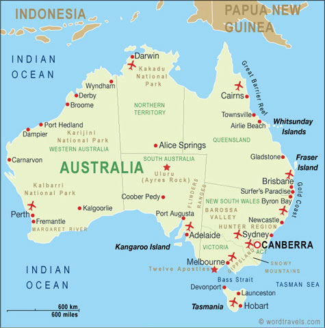 Australia Map Australia Travel Maps From Word Travels