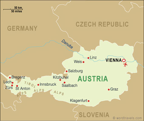 Austria Map, Austria Travel Maps from Word Travels Austria Travel Maps