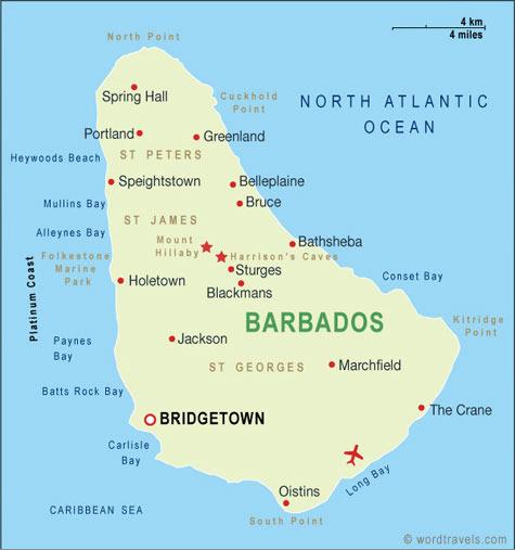 Barbados map.