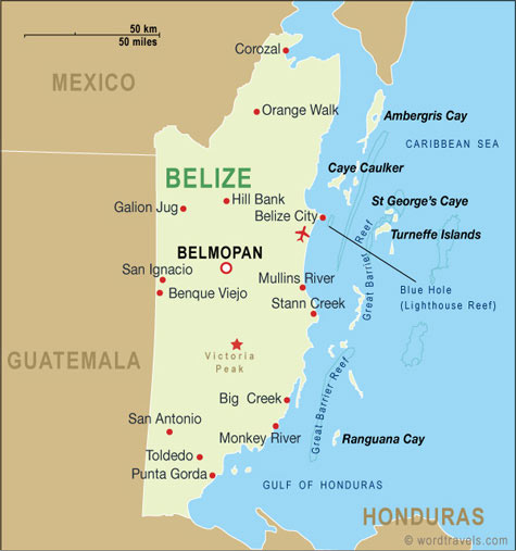 Belize map.