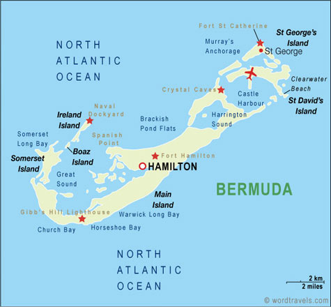 Bermuda Map Bermuda Travel Maps From Word Travels - Bermuda islands map