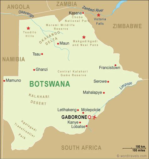 Botswana map.