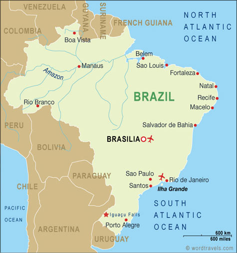 Brazil Country Map. Free use of this map: please contact us using the link