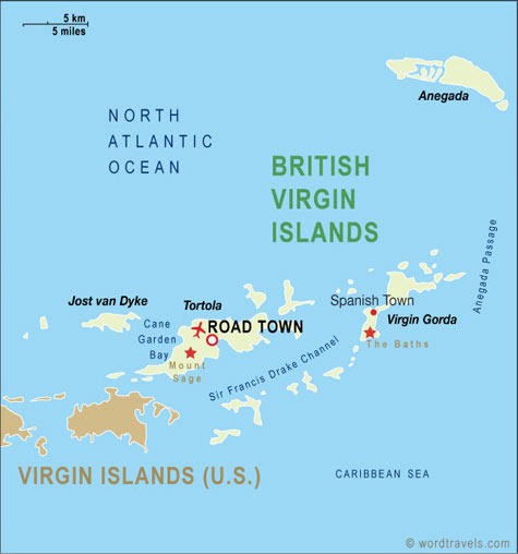 British Virgin Islands map.