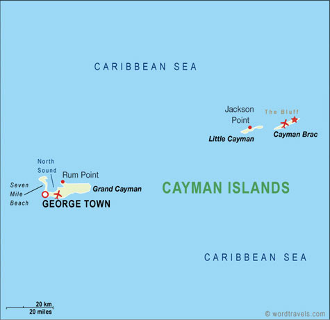 Cayman Islands map.