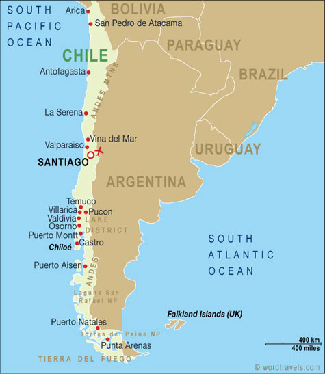 Chile Map Chile Travel Maps from Word Travels