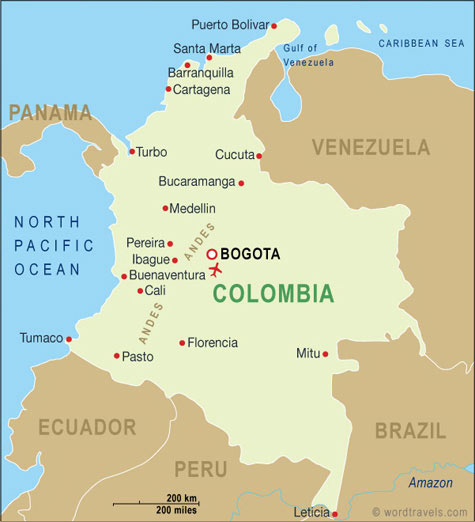 Colombia Map Colombia Travel Maps From Word Travels - Colombia map
