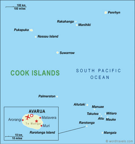 Cook Islands Map Cook Islands Travel Maps from Word Travels