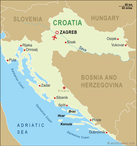 Croatia map.