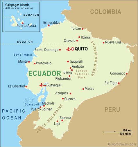 Ecuador Map, Ecuador Travel Maps from Word Travels Ecuador Travel Maps