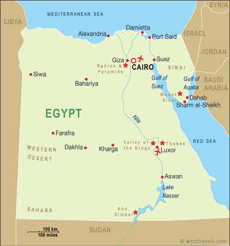 Egypt Map Egypt Travel Maps From Word Travels - Map of egypt picture