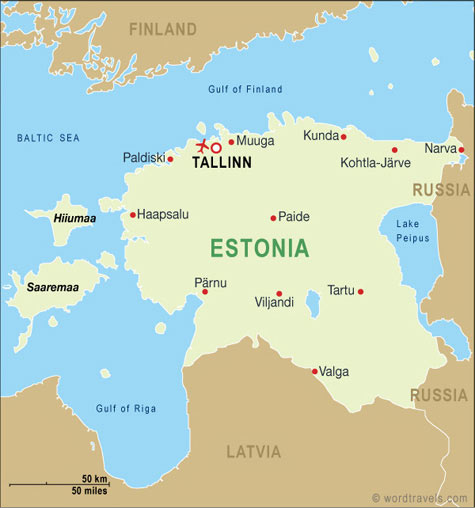 Estonia map.