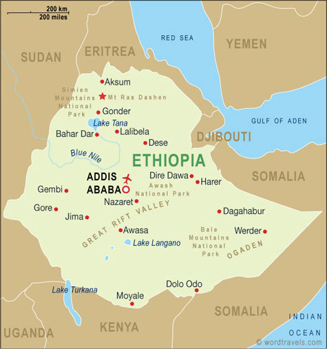 Ethiopia map.