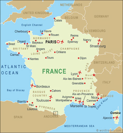 France Map France Travel Maps from Word Travels