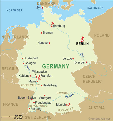 Germany Map Germany Travel Maps from Word Travels