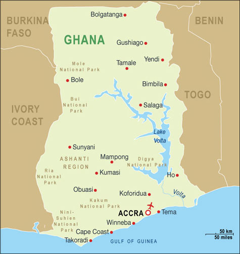 Ghana Map Ghana Travel Maps from Word Travels