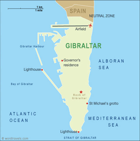 Gibraltar Map Gibraltar Travel Maps from Word Travels