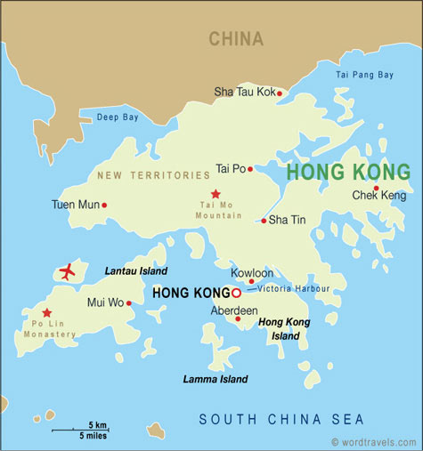 Hong Kong Map Hong Kong Travel Maps from Word Travels