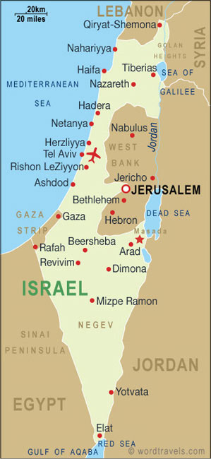 Israel Map Israel Travel Maps from Word Travels