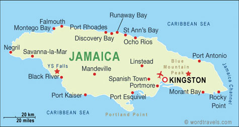 Jamaica map jamaica travel maps from word travels jamaica map sciox Images