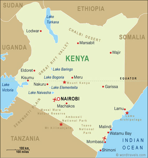 Kenya map kenya travel maps from word travels kenya map gumiabroncs Images