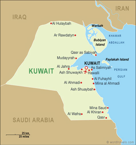 Kuwait map kuwait travel maps from word travels kuwait map gumiabroncs Gallery