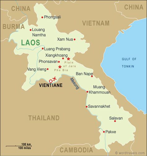 Laos Map, Laos Travel Maps from Word Travels