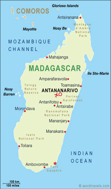 Madagascar map.