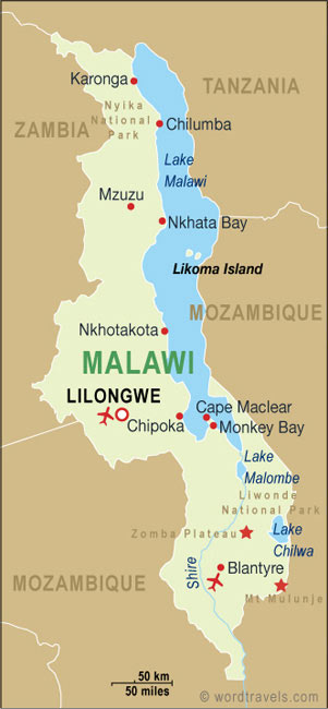 Malawi map.