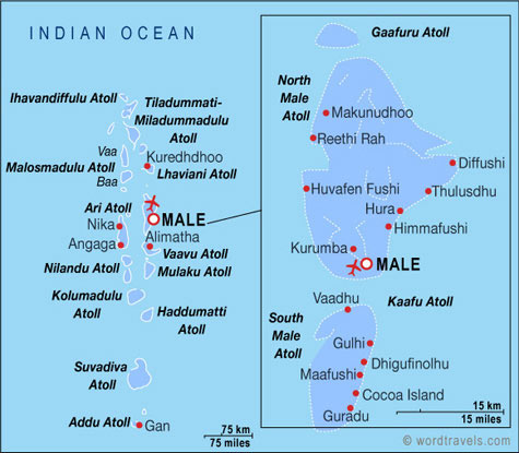 Maldives Map Maldives Travel Maps from Word Travels