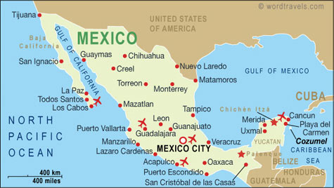 Mexico Map, Mexico Travel Maps from Word Travels