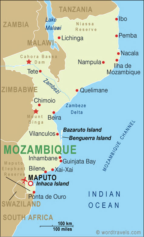 Mozambique map mozambique travel maps from word travels mozambique map sciox Choice Image