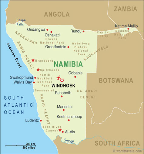 Namibia map.