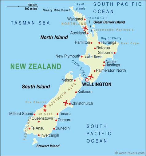 Travel Map New Zealand.New Zealand Map New Zealand Travel Maps From Word Travels