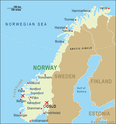 Norway Country Map. Free use of this map: please contact us using the link