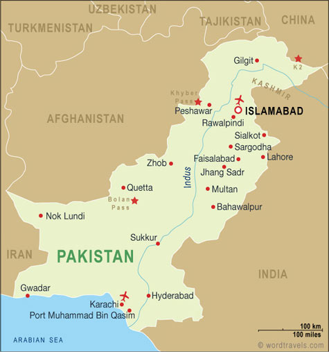 Pakistan map.