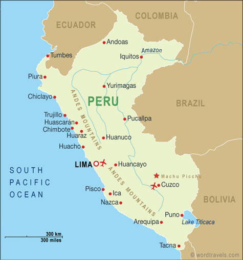 Peru Map, Peru Travel Maps from Word Travels