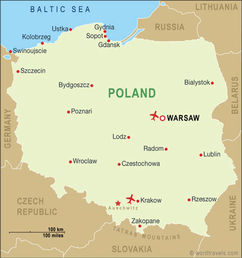 Poland Map, Poland Travel Maps from Word Travels Poland Travel Maps