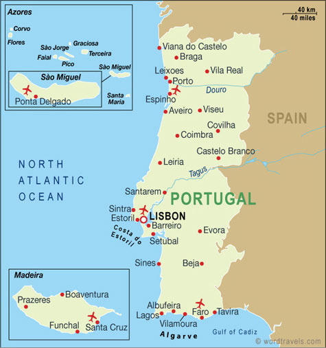 Portugal Map Portugal Travel Maps From Word Travels - Portugal on map