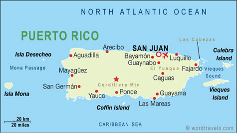 Puerto Rico Country Map. Free use of this map: please contact us using the