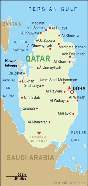 map of qatar. Qatar map.