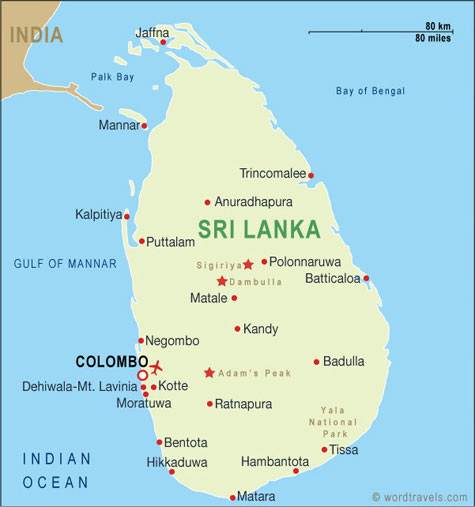 Sri Lanka map.