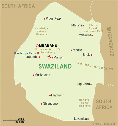 Swaziland Map Swaziland Travel Maps From Word Travels - Swaziland map