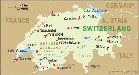 Switzerland map.