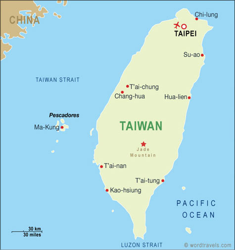 Taiwan Map Taiwan Travel Maps from Word Travels